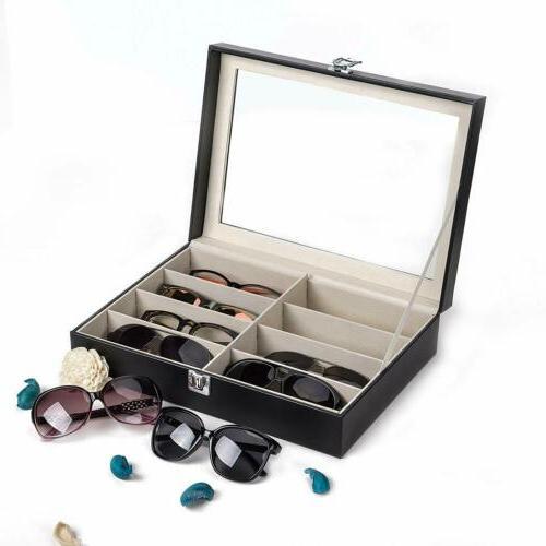 leather 8 slot eye glasses case storage