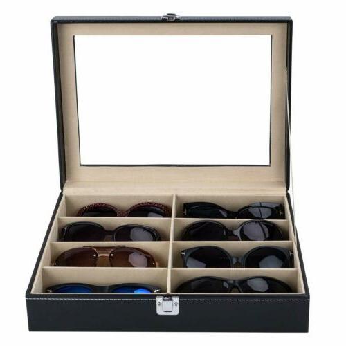 Leather 8 Glasses Case Cover Eyewear Box Organizer NEW