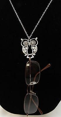 New Long Fancy Silver Owl Eyeglass Holder Necklace Lanyard #
