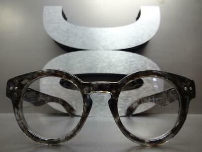 Men RETRO Clear Lens GLASSES Small Gray Tortoise Frame