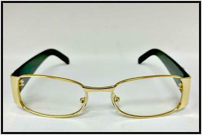 Men Classy Retro Style GLASSES Gold Black Frame