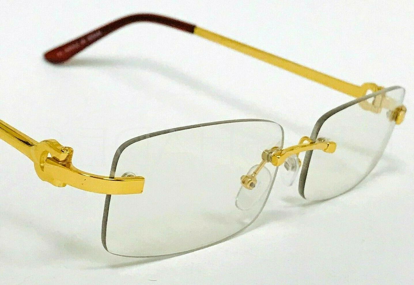 Men's Square Gold Rimless Frame Clear Lens