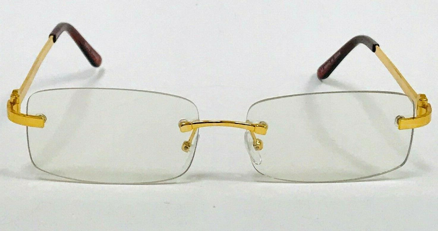Men's Sophisticated Gold Rimless Lens Eye