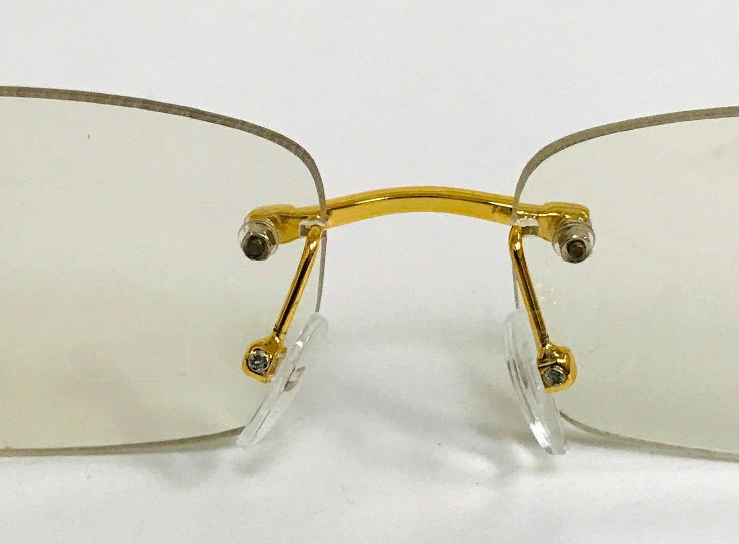 Men's Elegant Sophisticated Gold Rimless Frame Lens Eye