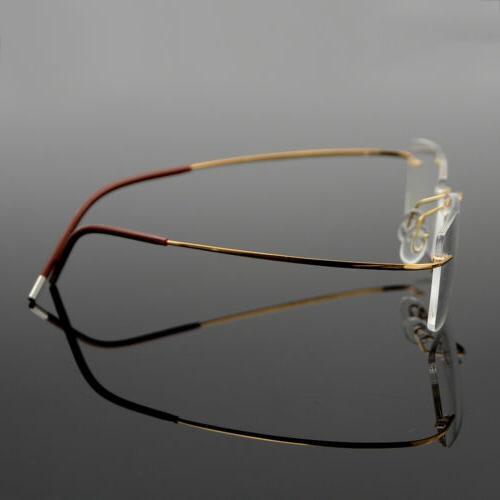 Men's Flexible Optical Frame Eyewear Glasses Rimless RX able
