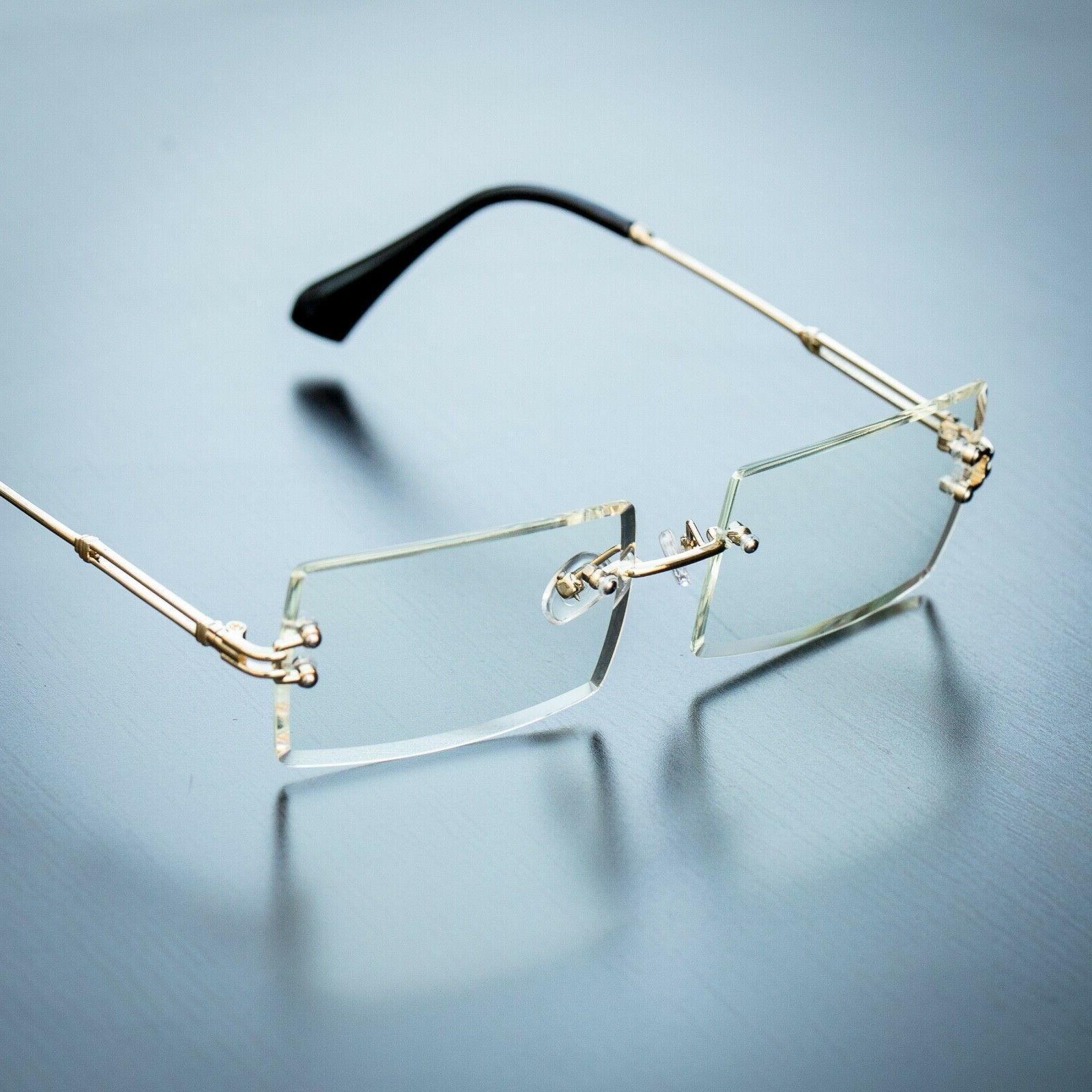 men s rectangular sophisticated gold clear lens