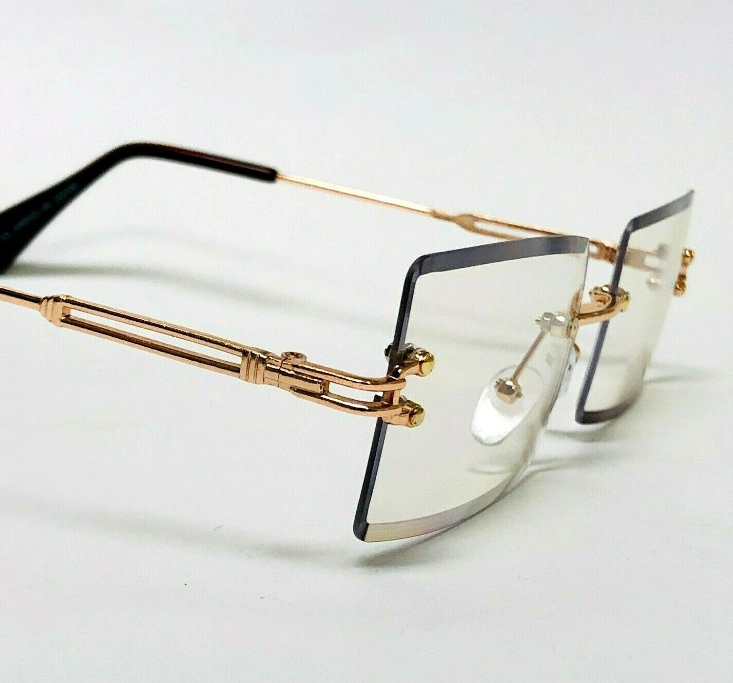 Men's Small Rectangular Sophisticated Gold Clear Rimless Eye Glasses