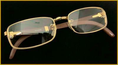 Men Clear EYE Gold & Wood Frame