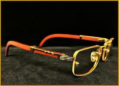 Men Sophisticated Clear GLASSES Gold Wood Frame