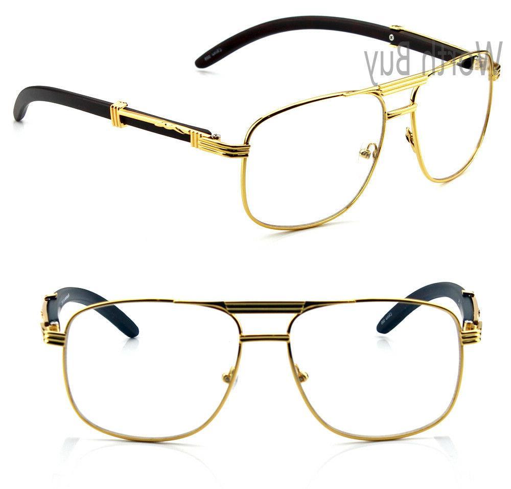 Men Clear Lens Glasses Wood Fashion Retro Vintage