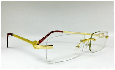 Mens Classy Luxury Style GLASSES Gold Rimless