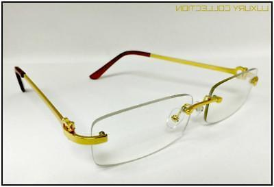 Mens Sophisticated Style Clear GLASSES Gold Rimless