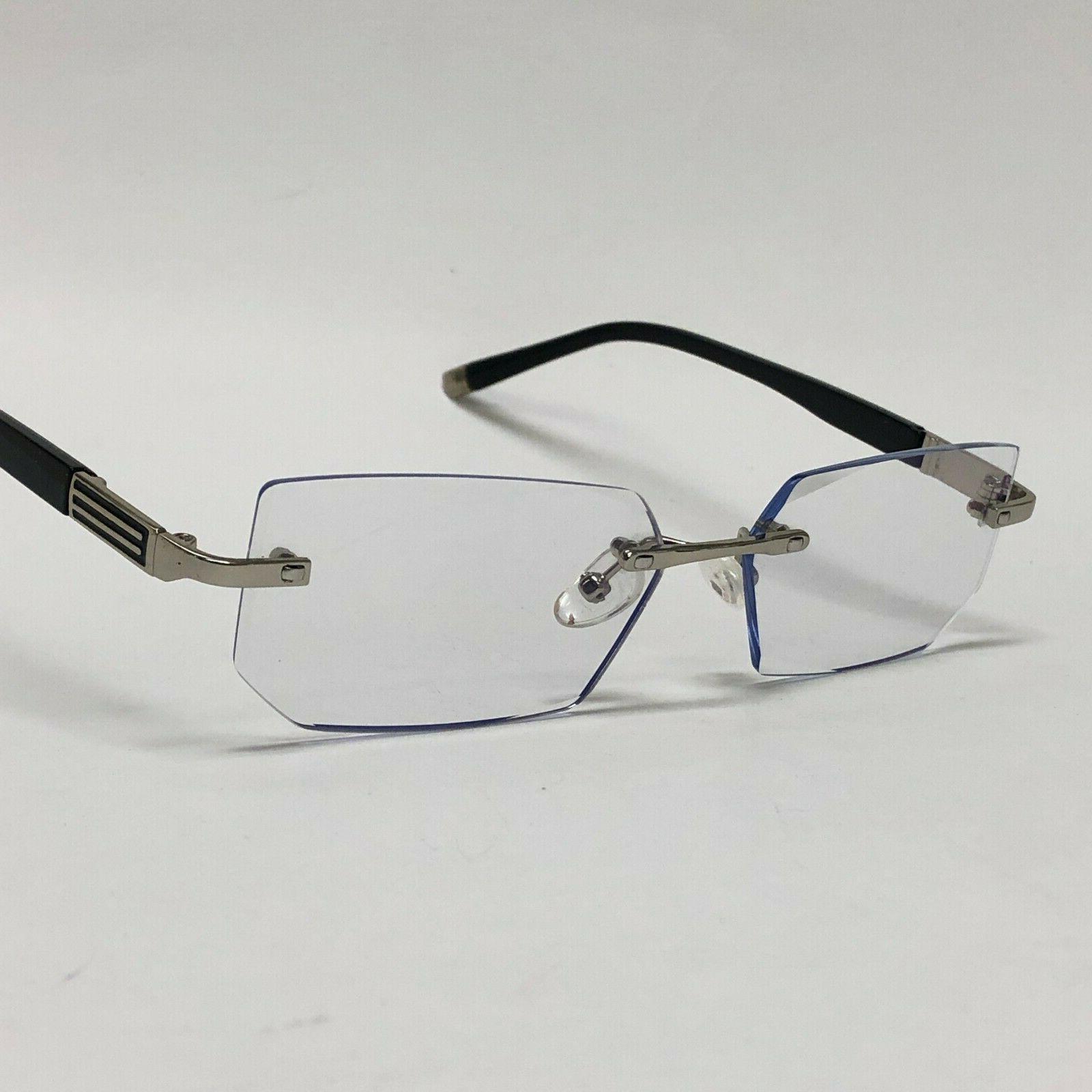 Mens Eye Glasses Lens Square Silver Frame Fashion
