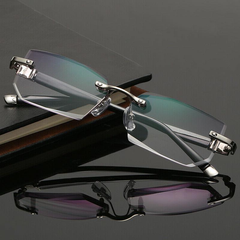 Mens Eye Glasses Lens Small Reflective Square Silver