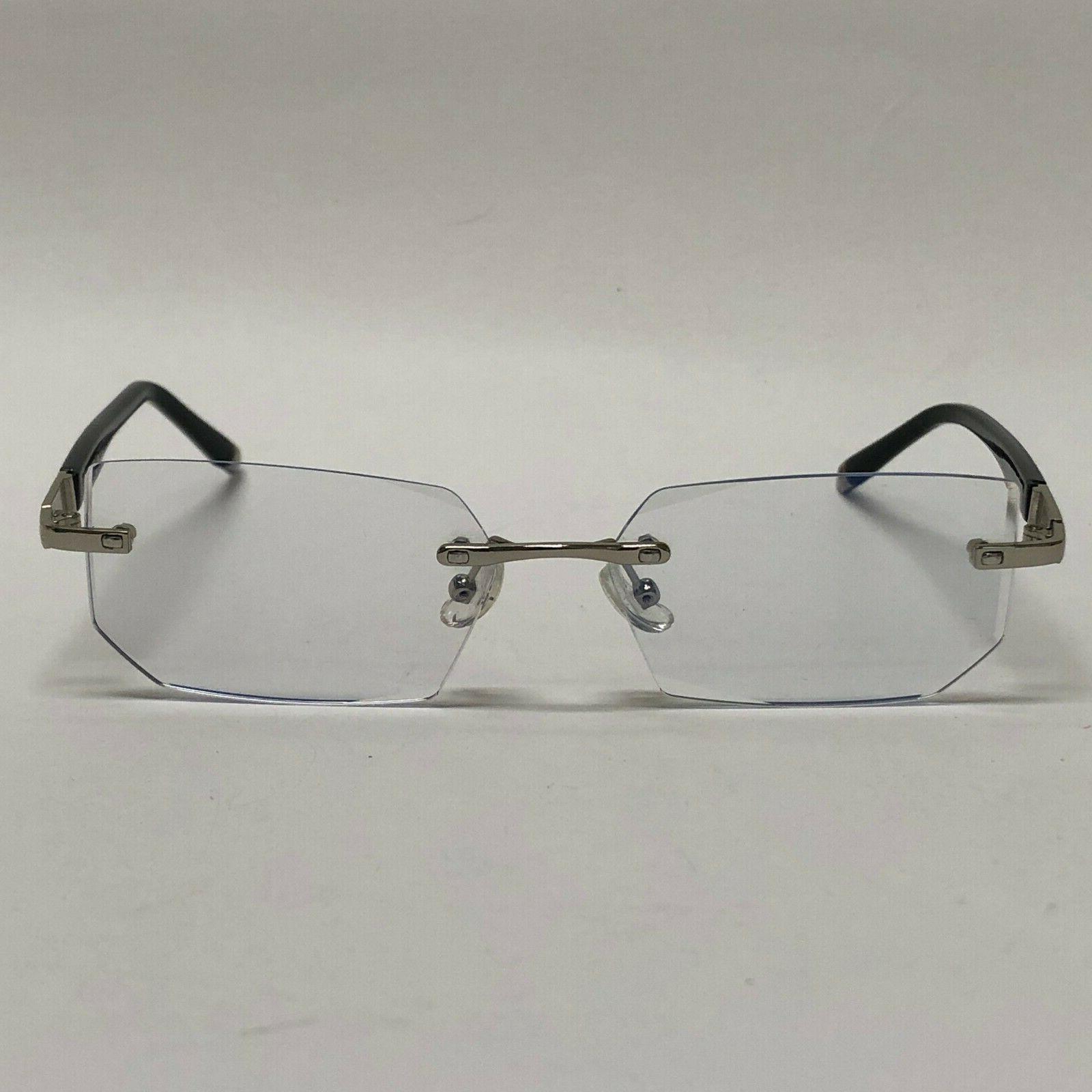 Mens Glasses Lens Rimless Small Reflective Square Silver