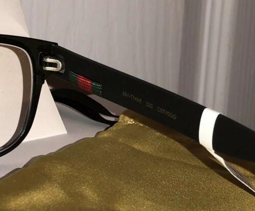 New 002 Men's Black Eyeglasses W/ Gucci Web &