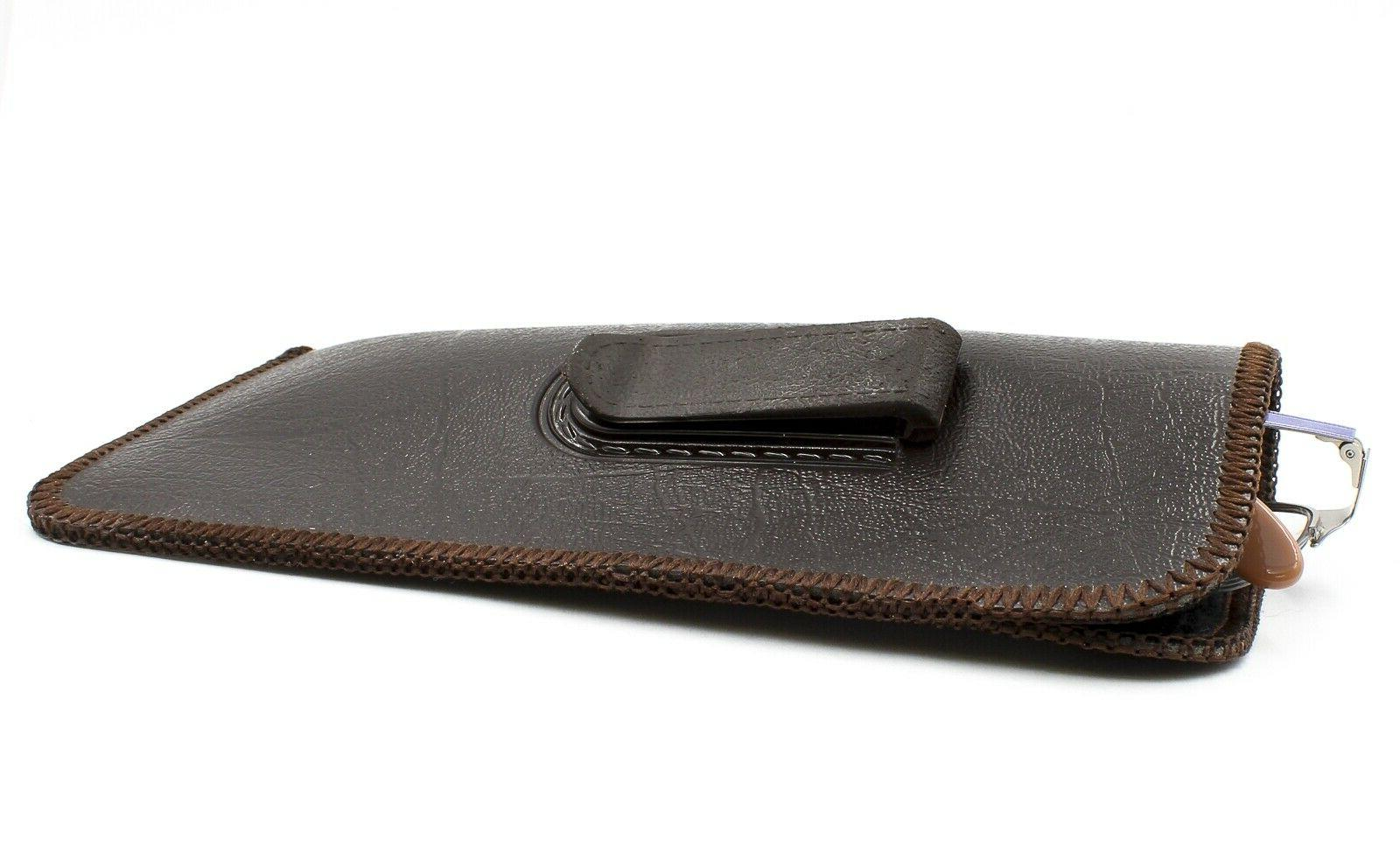 NEW Soft Brown Faux Leather Clip