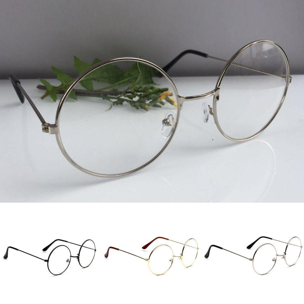New! Oversized Metal Clear Lens Round Circle Eye Glasses
