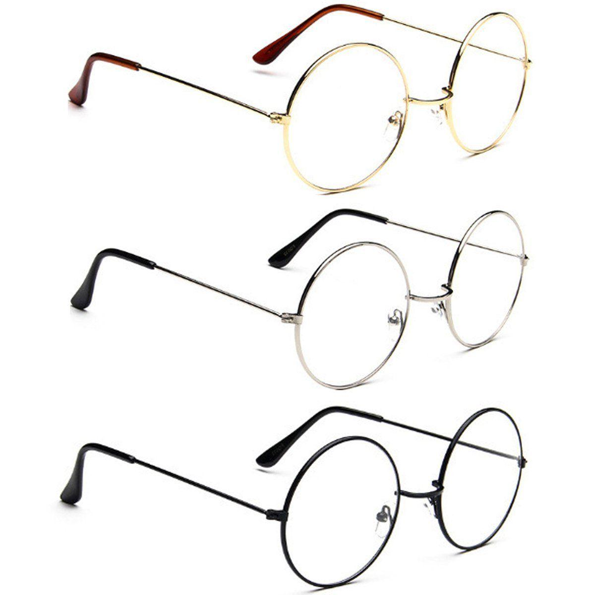 New! Women Oversized Metal Lens Round Circle Eye Glasses