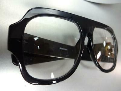 OVERSIZED RETRO Style Clear Large Black Frame