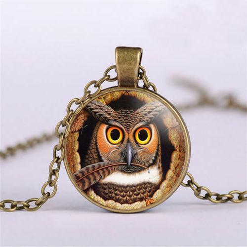 owl bird feather eye glasses charm bronze