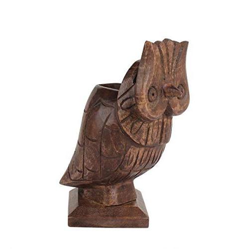 storeindya Thanksgiving Wooden Owl Shaped Eyeglass Holder Pen Pencil MultiUtility Stand Desk Display
