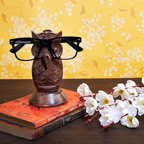 owl spectacle holder wooden eyeglass