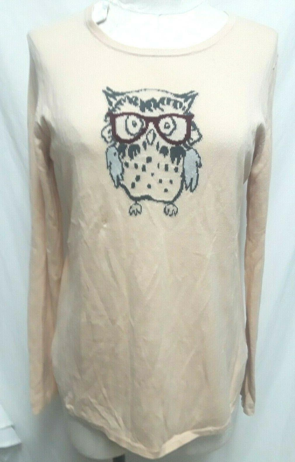 owl w eye glasses knit sweater top
