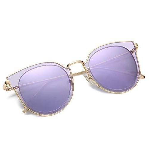 AMOMOMA Polarized Sunglasses Women Mirrored Lens AS1711 Gold Lens