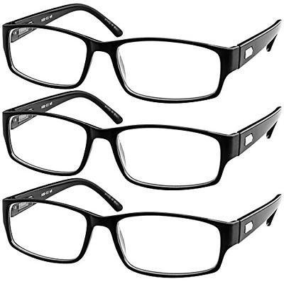 Reading Glasses 2.00  3 Pack Black Readers For Men and Women