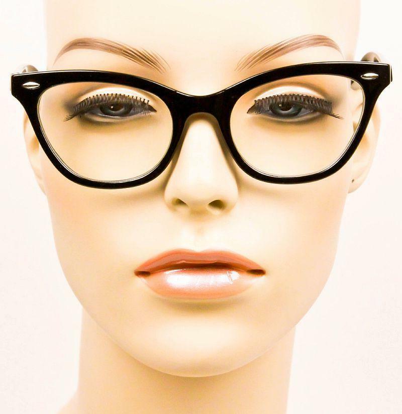 Retro Demi Frames Clear Lens Cat Glasses