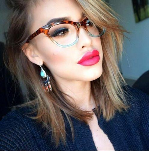 retro slim gradient cat eye clear women