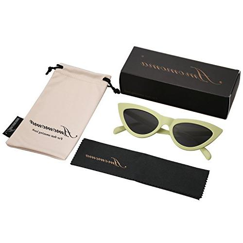 AMOMOMA Cat Sunglasses for Women Frame AM2027 with Green Farme Lens
