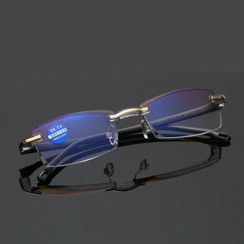 Rimless Reading Glasses HD Lens Anti Blue Computer