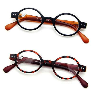 small round oval spring hinge eyeglasses reading