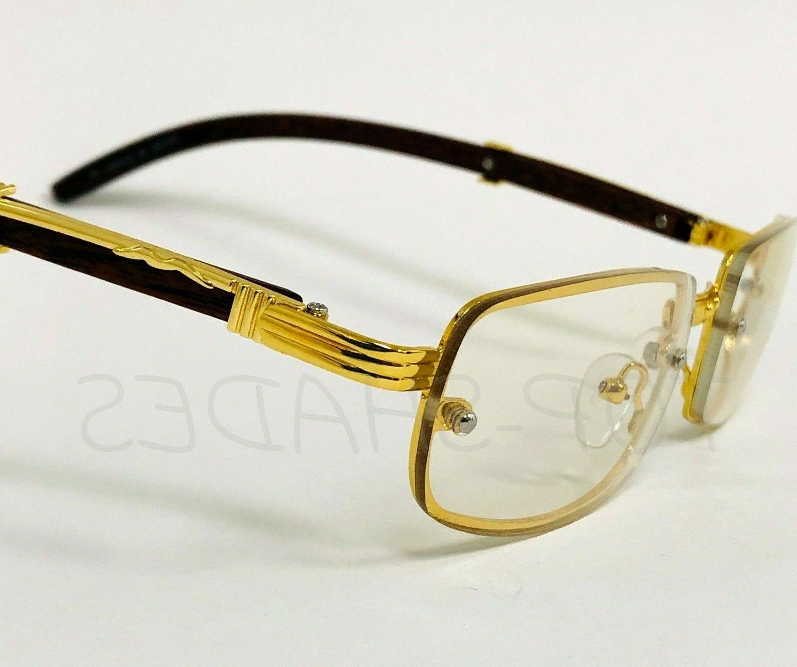 Sophisticated Men Eye Glasses Clear Gold & Frame
