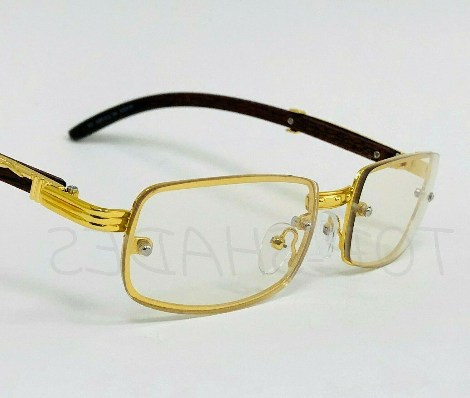 Sophisticated Eye Clear Gold & Wooden Frame