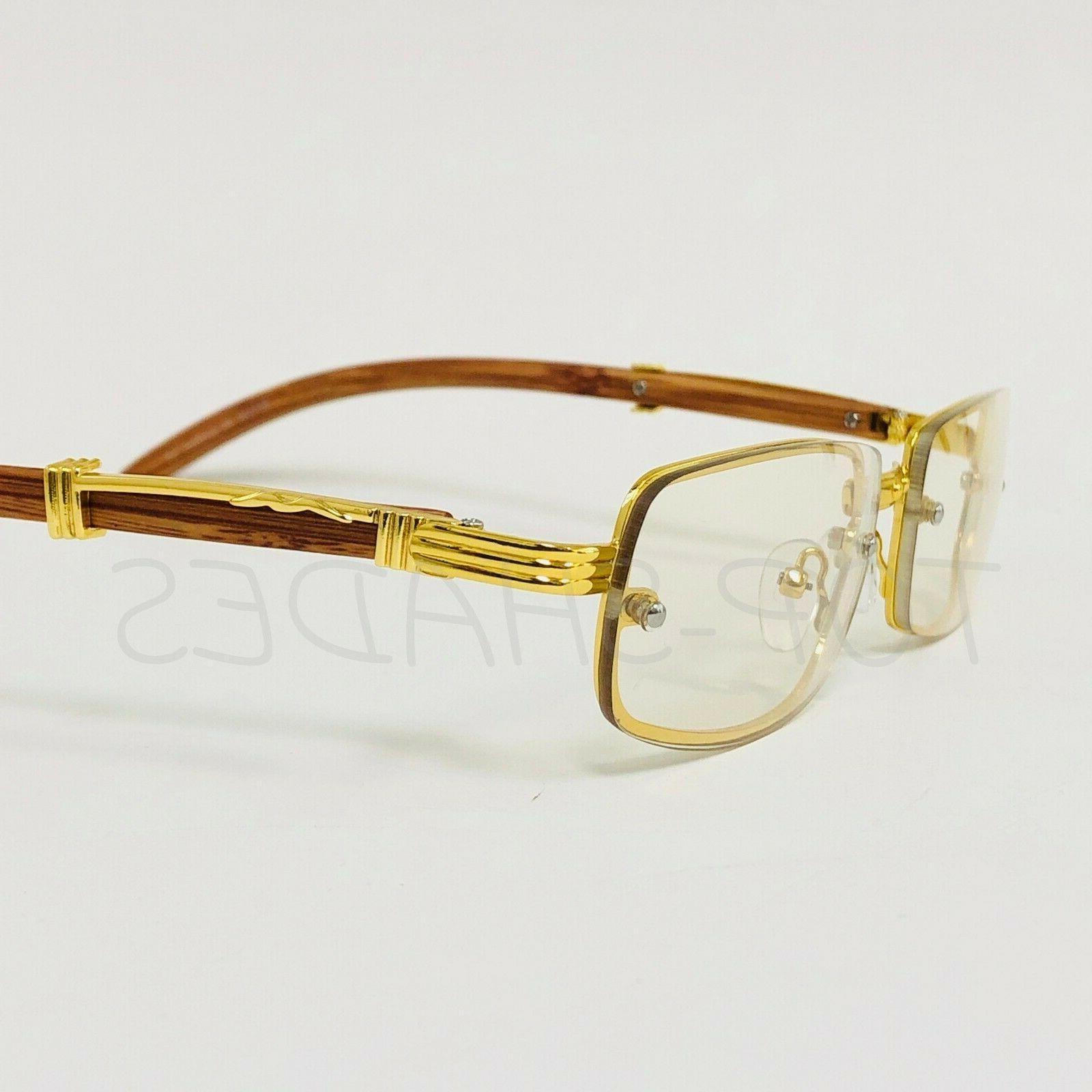 Sophisticated Classy Eye Glasses Clear Lens Gold & Wood Frame