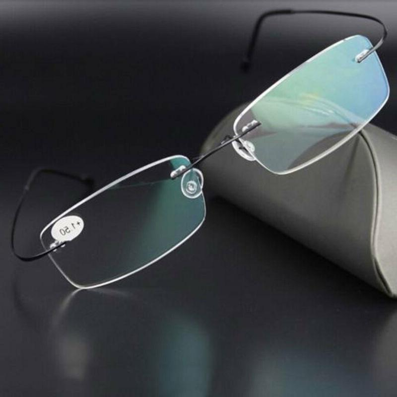 ultralight titanium rimless rectangular reading glasses spec