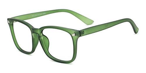 TIJN Non-Prescription Eyeglasses Glasses Clear Square Eyewear Green Frame