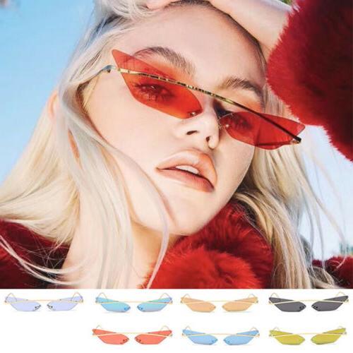 Retro Cat Eye Sunglasses Vintage Metal Frame Mirror Sun Glas
