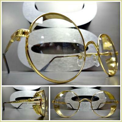 Mens VINTAGE RETRO Style Clear Lens EYE GLASSES Round Gold B