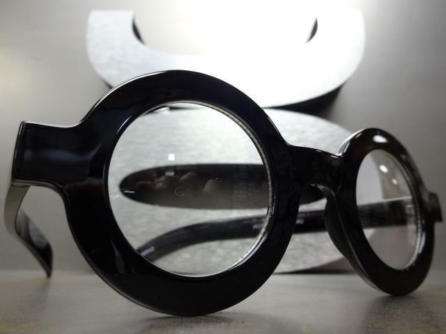 VINTAGE RETRO WALDO Clear Lens EYE Round Thick Black Frame