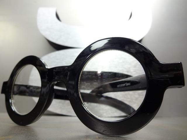 VINTAGE RETRO Style Clear Lens Round Thick Black Frame