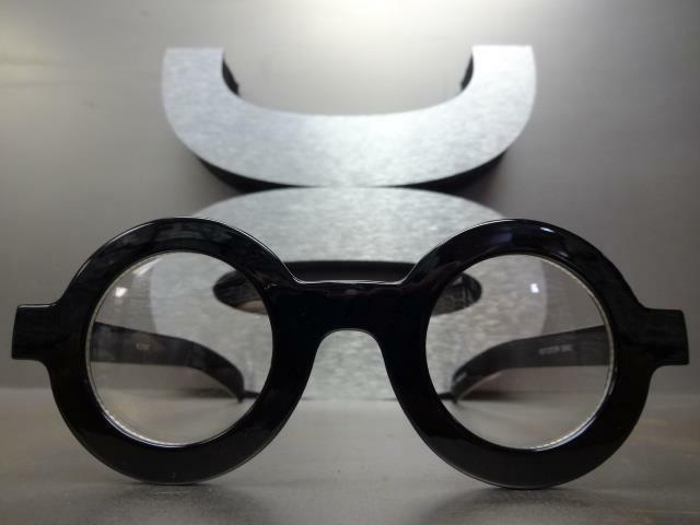 VINTAGE WALDO Clear Round Thick Black Fashion Frame
