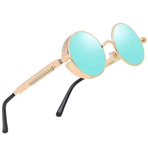 vintage steampunk round sunglasses men circle retro