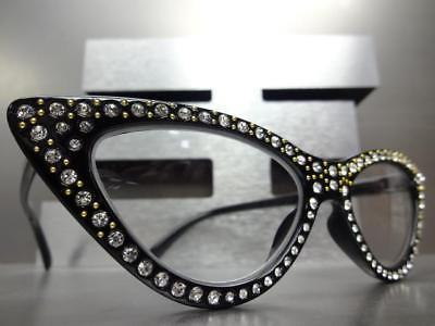 Women Retro CAT GLASSES Bling Frame