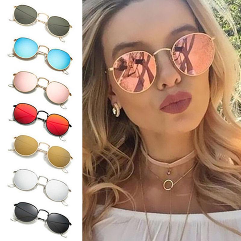Women Retro Fashion Mirrored Round Lens Oversized Sunglasses