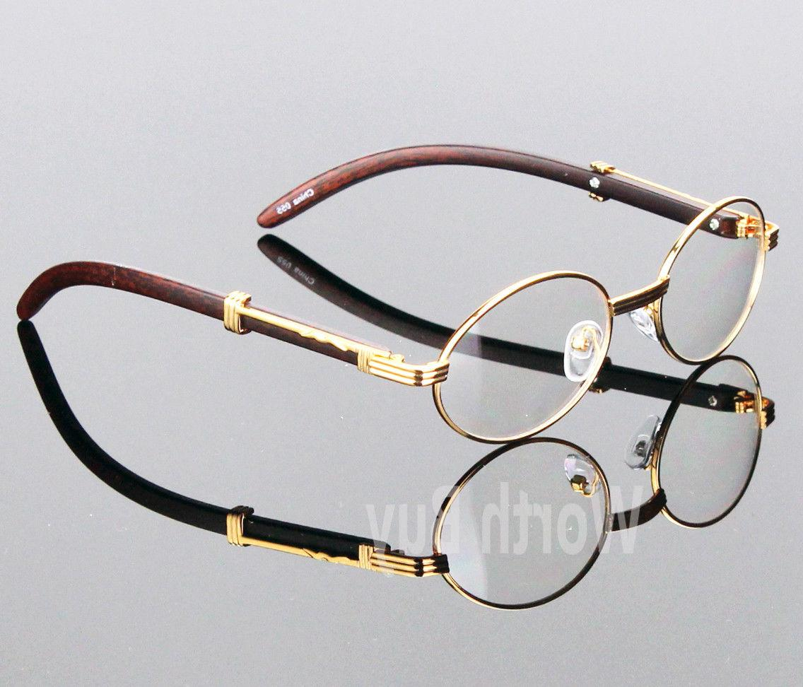 Womens Men Retro Clear Gold Wood Frame