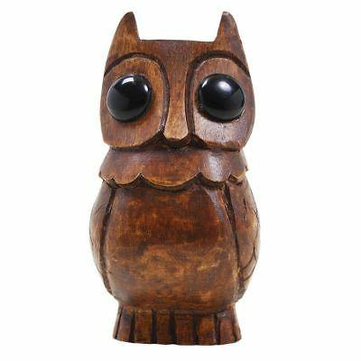 wooden owl eyeglass spectacle holder stand